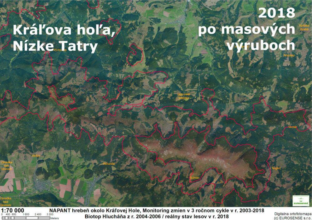 odlesňovanie na Slovensku 2018
