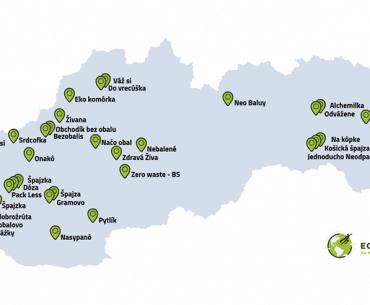 Mapa bezobalových a zero waste obchodov na Slovensku